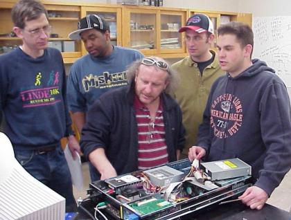Students and professors in the lab